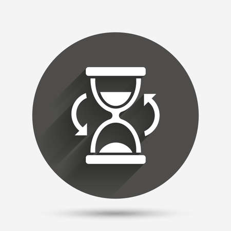 sand timer: Hourglass sign icon. Sand timer symbol. Circle flat button with shadow. Vector Illustration