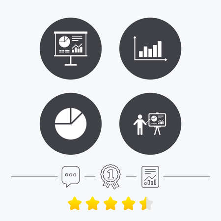 demand: Diagram graph Pie chart icon. Presentation billboard symbol. Supply and demand. Man standing with pointer. Chat, award medal and report linear icons. Star vote ranking. Vector