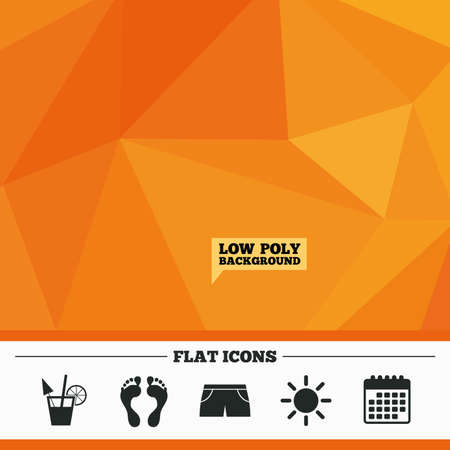 swimming trunks: Triangular low poly orange background. Beach holidays icons. Cocktail, human footprints and swimming trunks signs. Summer sun symbol. Calendar flat icon. Vector