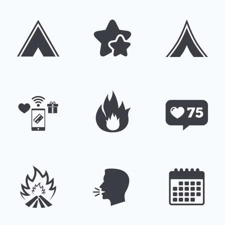 flame like: Tourist camping tent icons. Fire flame sign symbols. Flat talking head, calendar icons. Stars, like counter icons. Vector