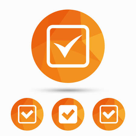 checkbox: Check icons. Checkbox confirm squares sign symbols. Triangular low poly buttons with shadow. Vector