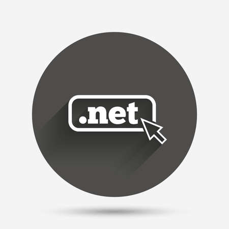 dns: Domain NET sign icon. Top-level internet domain symbol with cursor pointer. Circle flat button with shadow. Vector