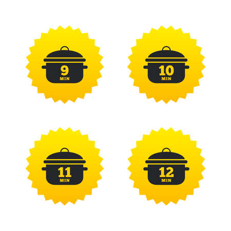 10 12: Cooking pan icons. Boil 9, 10, 11 and 12 minutes signs. Stew food symbol. Yellow stars labels with flat icons. Vector