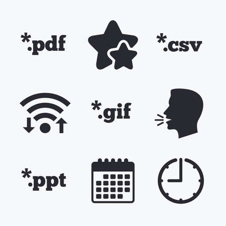 ppt: Document icons. File extensions symbols. PDF, GIF, CSV and PPT presentation signs. Wifi internet, favorite stars, calendar and clock. Talking head. Vector