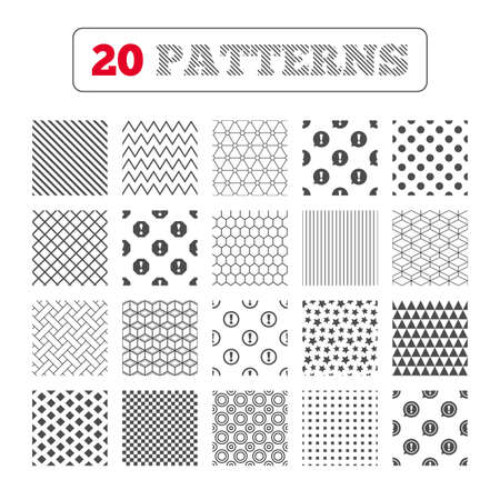 hazard stripes: Ornament patterns, diagonal stripes and stars. Attention icons. Exclamation speech bubble symbols. Caution signs. Geometric textures. Vector