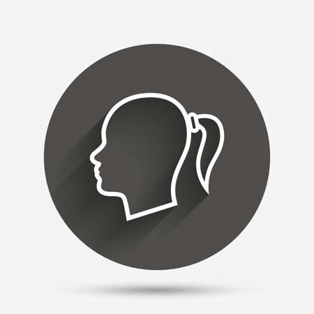 pigtail: Head sign icon. Female woman human head with pigtail symbol. Circle flat button with shadow. Vector