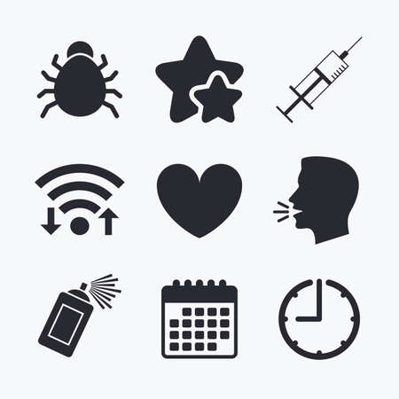 syringe inoculation: Bug and vaccine syringe injection icons. Heart and spray can sign symbols. Wifi internet, favorite stars, calendar and clock. Talking head. Vector