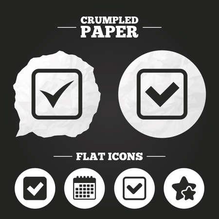 checkbox: Crumpled paper speech bubble. Check icons. Checkbox confirm squares sign symbols. Paper button. Vector Illustration