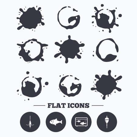 bobber: Paint, coffee or milk splash blots. Fishing icons. Fish with fishermen hook sign. Float bobber symbol. Aquarium icon. Smudges splashes drops. Vector