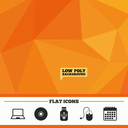 optical disk: Triangular low poly orange background. Notebook pc and Usb flash drive stick icons. Computer mouse and CD or DVD sign symbols. Calendar flat icon. Vector Illustration