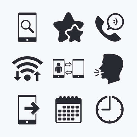 head support: Phone icons. Smartphone with speech bubble sign. Call center support symbol. Synchronization symbol. Wifi internet, favorite stars, calendar and clock. Talking head. Vector