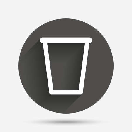 Recycle Bin Sign Icon Bin Symbol Circle Flat Button With Shadow
