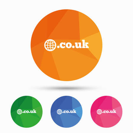 subdomain: Domain CO.UK sign icon. UK internet subdomain symbol with globe. Triangular low poly button with flat icon. Vector