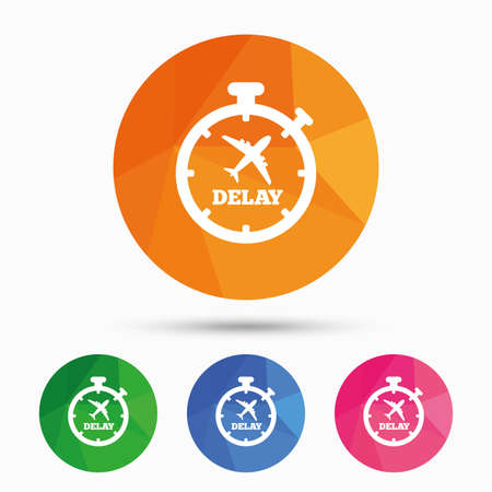 delay: Delayed flight sign icon. Airport delay timer symbol. Airplane icon. Triangular low poly button with flat icon. Vector Illustration