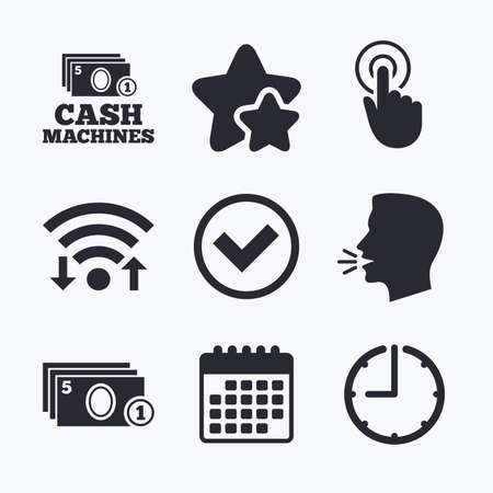 withdrawals: ATM cash machine withdrawal icons. Click here, check PIN number, processing and cash withdrawal symbols. Wifi internet, favorite stars, calendar and clock. Talking head. Vector