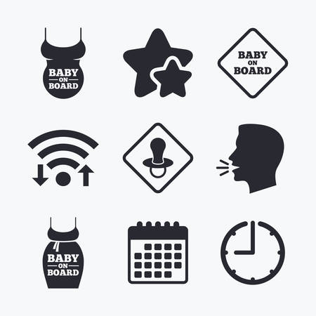 big belly: Baby on board icons. Infant caution signs. Child pacifier nipple. Pregnant woman dress with big belly. Wifi internet, favorite stars, calendar and clock. Talking head. Vector