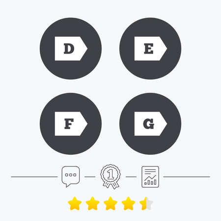energy ranking: Energy efficiency class icons. Energy consumption sign symbols. Class D, E, F and G. Chat, award medal and report linear icons. Star vote ranking. Vector