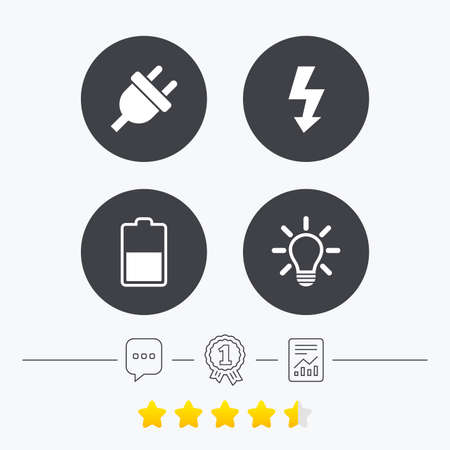 energy ranking: Electric plug icon. Light lamp and battery half symbols. Low electricity and idea signs. Chat, award medal and report linear icons. Star vote ranking. Vector