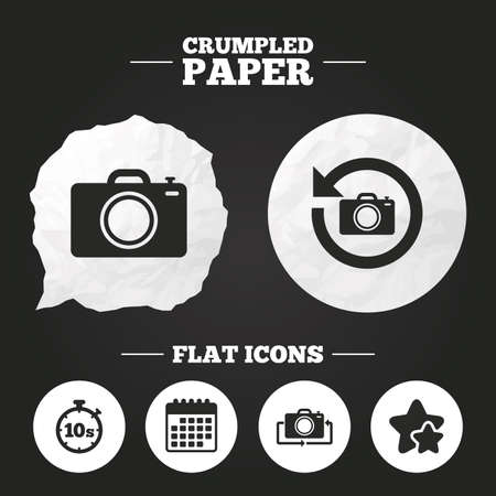 seconds: Crumpled paper speech bubble. Photo camera icon. Flip turn or refresh symbols. Stopwatch timer 10 seconds sign. Paper button. Vector