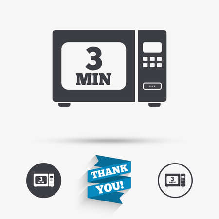 Cook in microwave oven sign icon. Heat 3 minutes. Kitchen electric stove symbol. Flat icons. Buttons with icons. Thank you ribbon. Vector Vectores