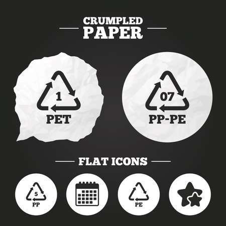 pp: Crumpled paper speech bubble. PET 1, PP-pe 07, PP 5 and PE icons. High-density Polyethylene terephthalate sign. Recycling symbol. Paper button. Vector Illustration