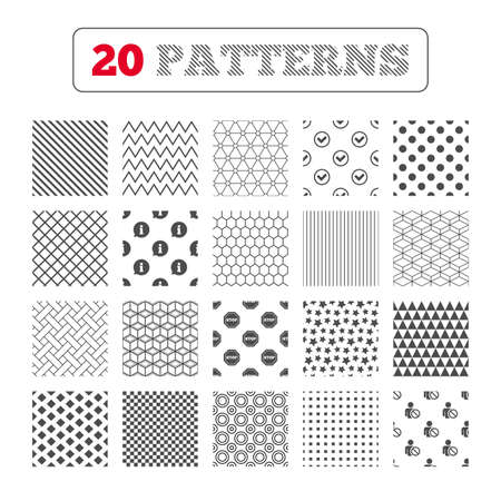 blacklist: Ornament patterns, diagonal stripes and stars. Information icons. Stop prohibition and user blacklist signs. Approved check mark symbol. Geometric textures. Vector