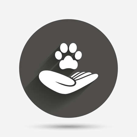 animal shelter: Shelter pets sign icon. Hand holds paw symbol. Animal protection. Circle flat button with shadow. Vector Illustration