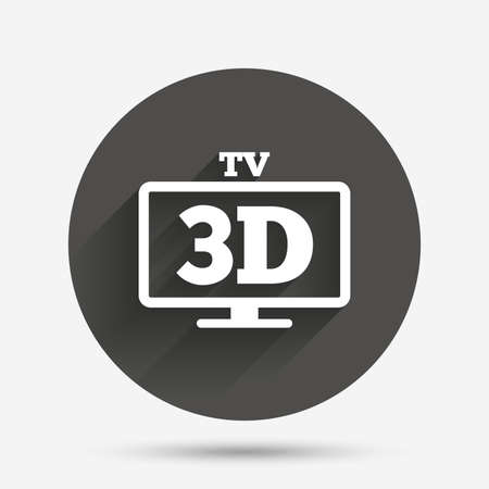 television set: 3D TV sign icon. 3D Television set symbol. New technology. Circle flat button with shadow. Vector