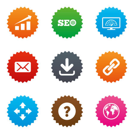 bandwidth: Internet, seo icons. Bandwidth speed, download arrow and mail signs. Hyperlink, monitoring symbols. Stars label button with flat icons. Vector