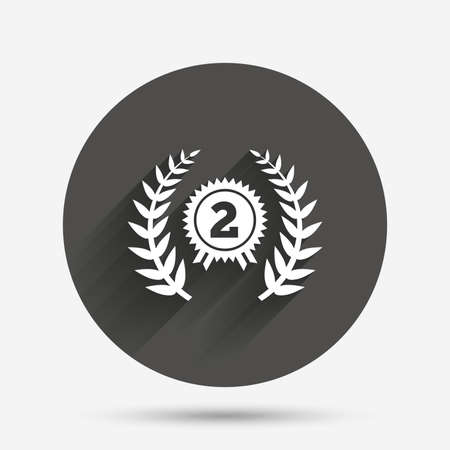 second prize: Second place award sign icon. Prize for winner symbol. Laurel Wreath. Circle flat button with shadow. Vector
