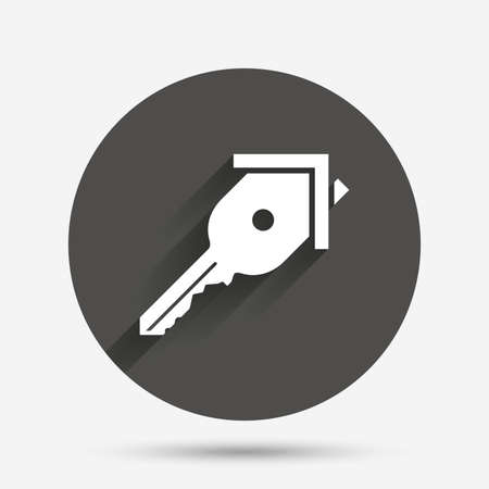 tool unlock: Key from the house sign icon. Unlock tool symbol. Circle flat button with shadow. Vector Illustration