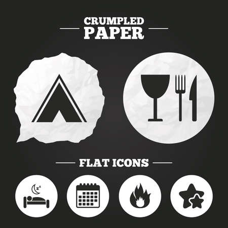 breakfast in bed: Crumpled paper speech bubble. Food, sleep, camping tent and fire icons. Knife, fork and wineglass. Hotel or bed and breakfast. Road signs. Paper button. Vector