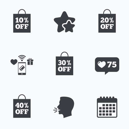 head tag: Sale bag tag icons. Discount special offer symbols. 10%, 20%, 30% and 40% percent off signs. Flat talking head, calendar icons. Stars, like counter icons. Vector
