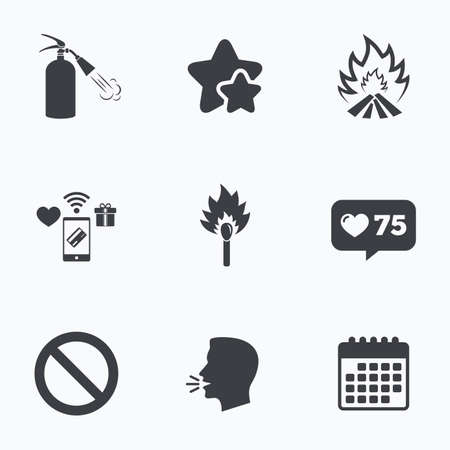 flame like: Fire flame icons. Fire extinguisher sign. Prohibition stop symbol. Burning matchstick. Flat talking head, calendar icons. Stars, like counter icons. Vector