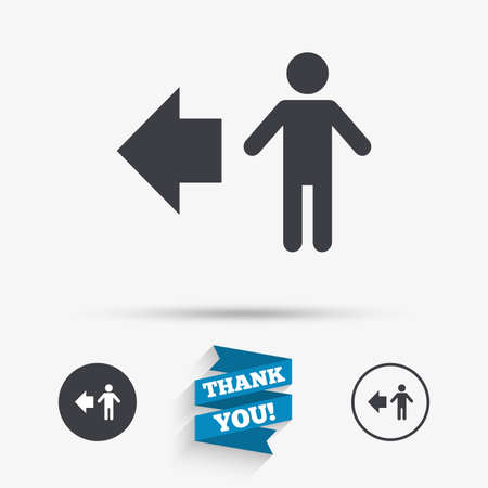 pedestrian: Pedestrian road icon. Human path. Flat icons. Buttons with icons. Thank you ribbon. Vector