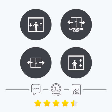 chat up: Automatic door icons. Elevator symbols. Auto open. Person symbol with up and down arrows. Chat, award medal and report linear icons. Star vote ranking. Vector