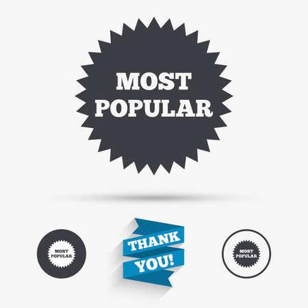 La maggior parte icona segno popolare. simbolo bestseller. icone piane. Pulsanti con le icone. Grazie nastro. Vettore