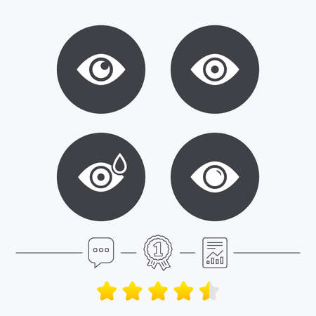 red eye: Eye icons. Water drops in the eye symbols. Red eye effect signs. Chat, award medal and report linear icons. Star vote ranking. Vector