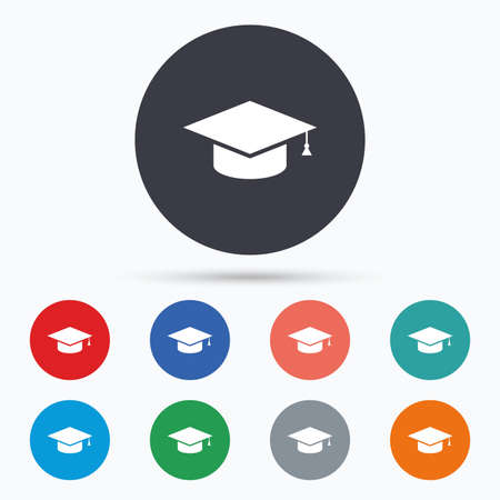 higher quality: Graduation cap sign icon. Education symbol. Flat education icon. Simple design education symbol. Education graphic element. Circle buttons with education icon. Vector