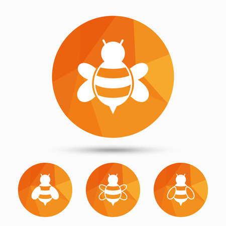 pollination: Honey bees icons. Bumblebees symbols. Flying insects with sting signs. Triangular low poly buttons with shadow. Vector