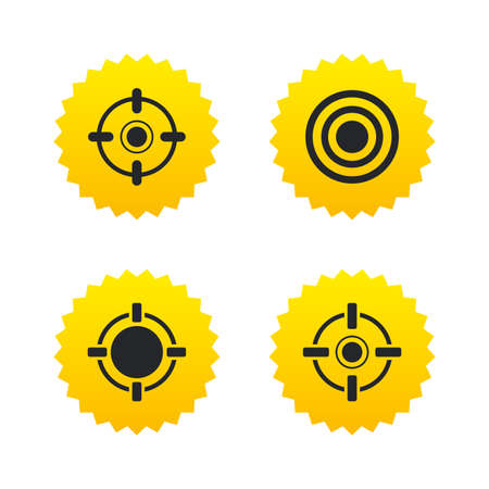 Crosshair icons. Target aim signs symbols. Weapon gun sights for shooting range. Yellow stars labels with flat icons. Vector