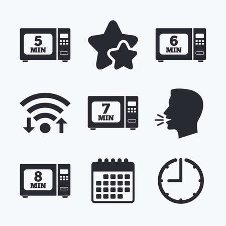 7 8: Microwave oven icons. Cook in electric stove symbols. Heat 5, 6, 7 and 8 minutes signs. Wifi internet, favorite stars, calendar and clock. Talking head. Vector