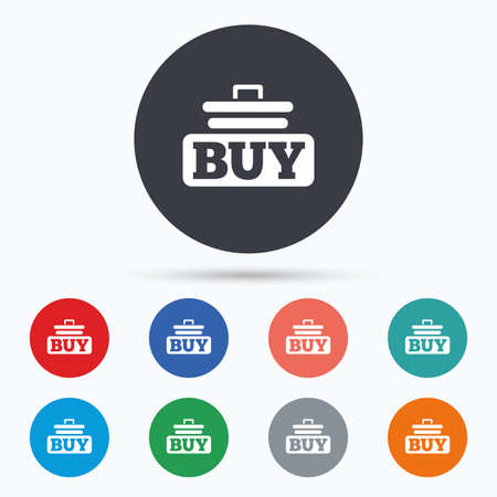 cart button: Buy sign icon. Online buying cart button. Flat buy icon. Simple design buy symbol. Buy graphic element. Circle buttons with buy icon. Vector Illustration