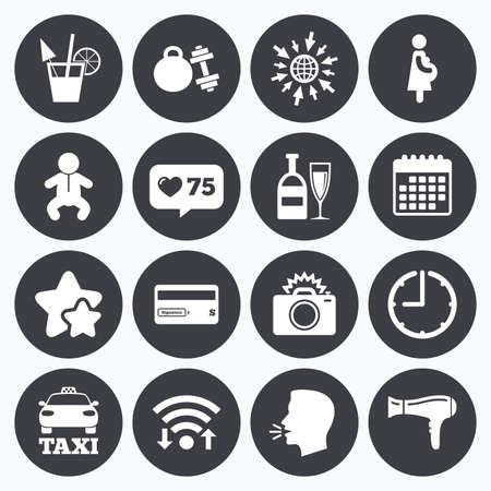 counter service: Calendar, wifi and clock symbols. Like counter, stars symbols. Hotel, apartment service icons. Fitness gym. Alcohol cocktail, taxi and hairdryer symbols. Talking head, go to web symbols. Vector Illustration
