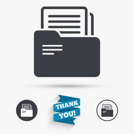and symbol: Document folder sign. Accounting binder symbol. Bookkeeping management. Flat icons. Buttons with icons. Thank you ribbon. Vector Illustration