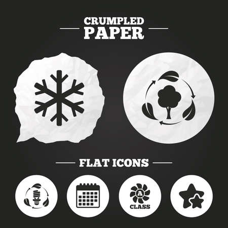 fresh air: Crumpled paper speech bubble. Fresh air icon. Forest tree with leaves sign. Fluorescent energy lamp bulb symbol. A-class ventilation. Air conditioning symbol. Paper button. Vector