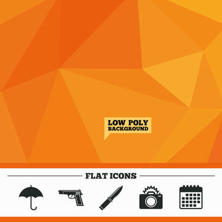 edged: Triangular low poly orange background. Gun weapon icon.Knife, umbrella and photo camera with flash signs. Edged hunting equipment. Prohibition objects. Calendar flat icon. Vector Illustration