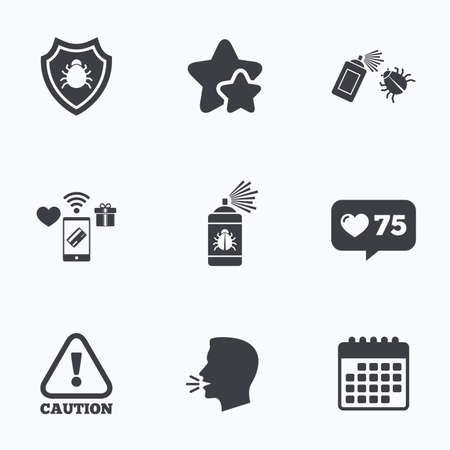 insanitary: Bug disinfection icons. Caution attention and shield symbols. Insect fumigation spray sign. Flat talking head, calendar icons. Stars, like counter icons. Vector