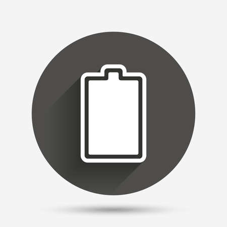 fully: Battery fully charged sign icon. Electricity symbol. Circle flat button with shadow. Vector Illustration