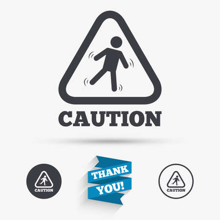 wet floor sign: Caution wet floor sign icon. Human falling triangle symbol. Flat icons. Buttons with icons. Thank you ribbon. Vector